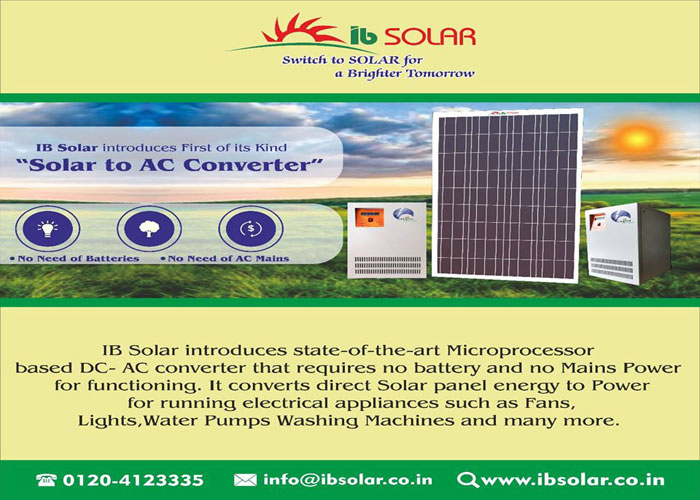 "IB Solar introduces First of its Kind ""Solar to AC Converter"""
