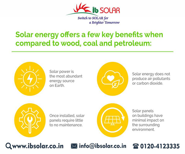 Solar energy offers a few key benefits when compared to wood, coal & petroleum.