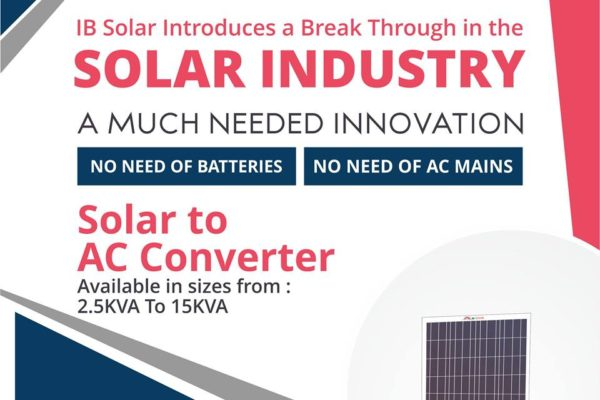 IB Solar Introduces a Break Through in the Solar Industry