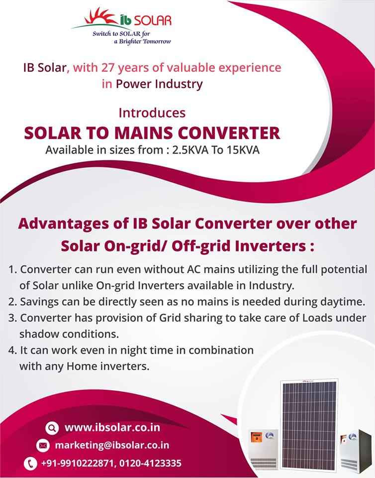 Introduces Solar To Mains Converter