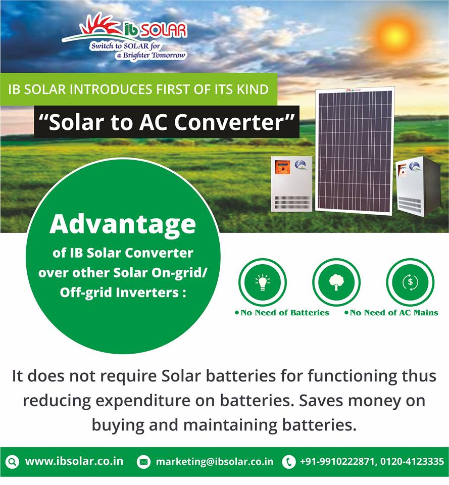 "IB Solar Introduces First of its kind ""Solar to AC Converter"