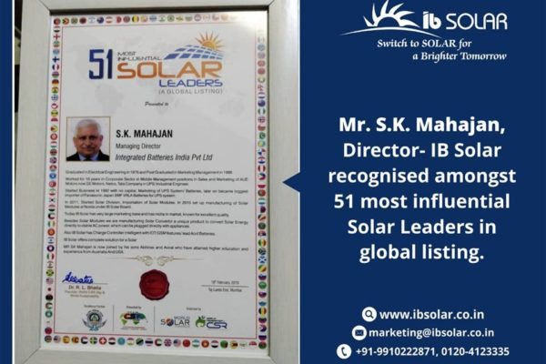 Mr. S.K. Mahajan, Director- IB Solar