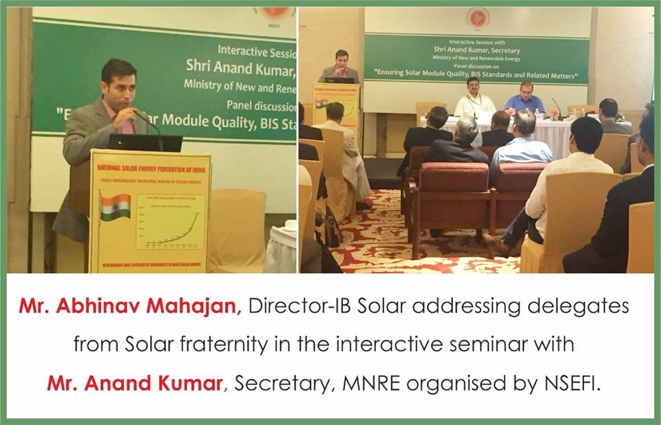 IB Solar addressing delegates from Solar fraternity in the interactive seminar