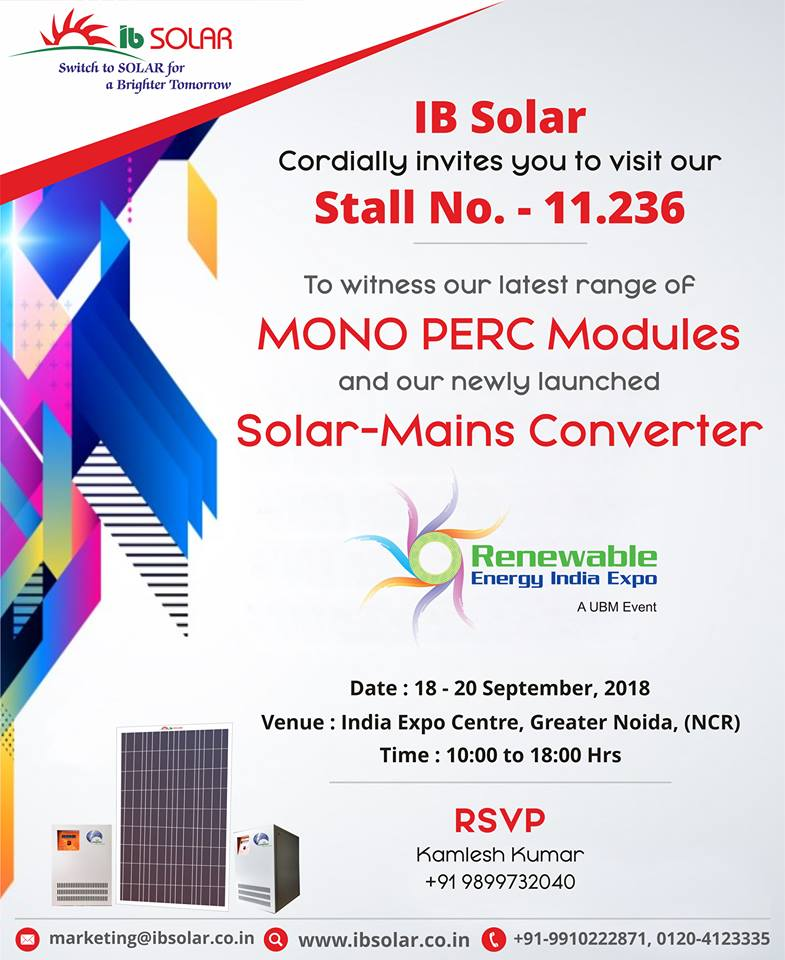 RENEWABLE ENERGY INDIA EXPO 2018.