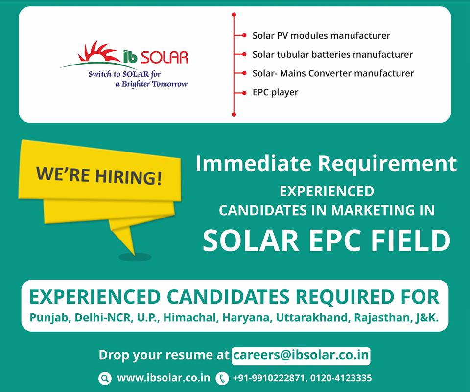 Immediate Requirement  Experienced Candidates in Marketing in SOLAR EPC