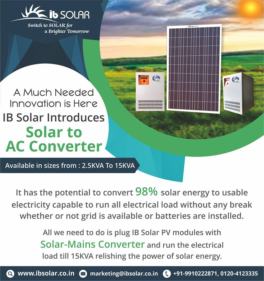 IB Solar Introduces Solar to AC Converter
