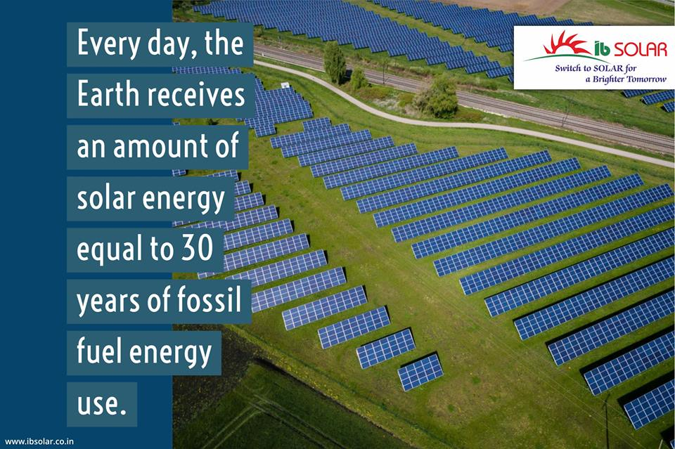 The Earth Receives an amount of Solar Energy Equal to 30 Years of Fossil Fuel Energy