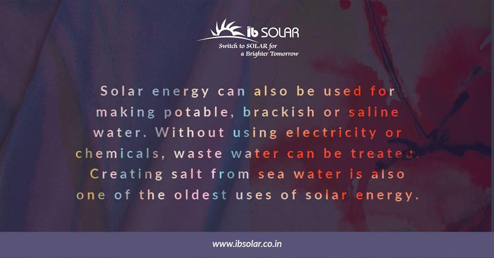 Solar Energy can also be used for Making Potable
