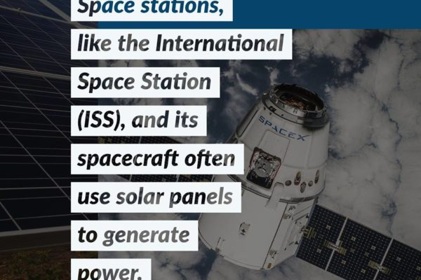 Space stations, like the International Space Station (ISS), and its spacecraft often use solar panels to generate power