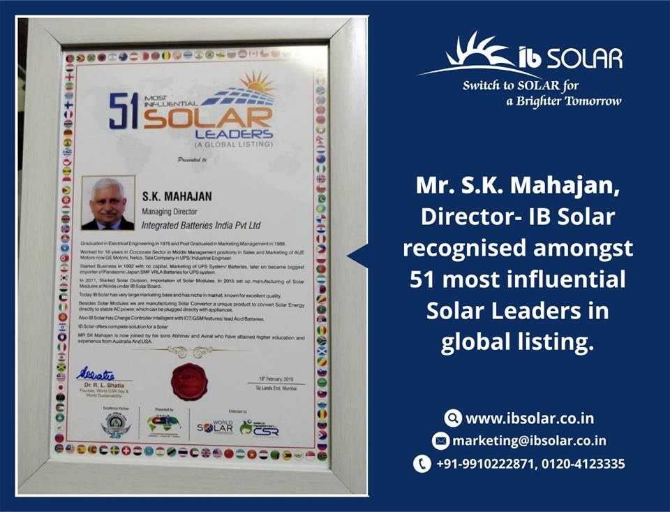 Mr. S.K. Mahajan, Director- IB Solar recognized amongst 51