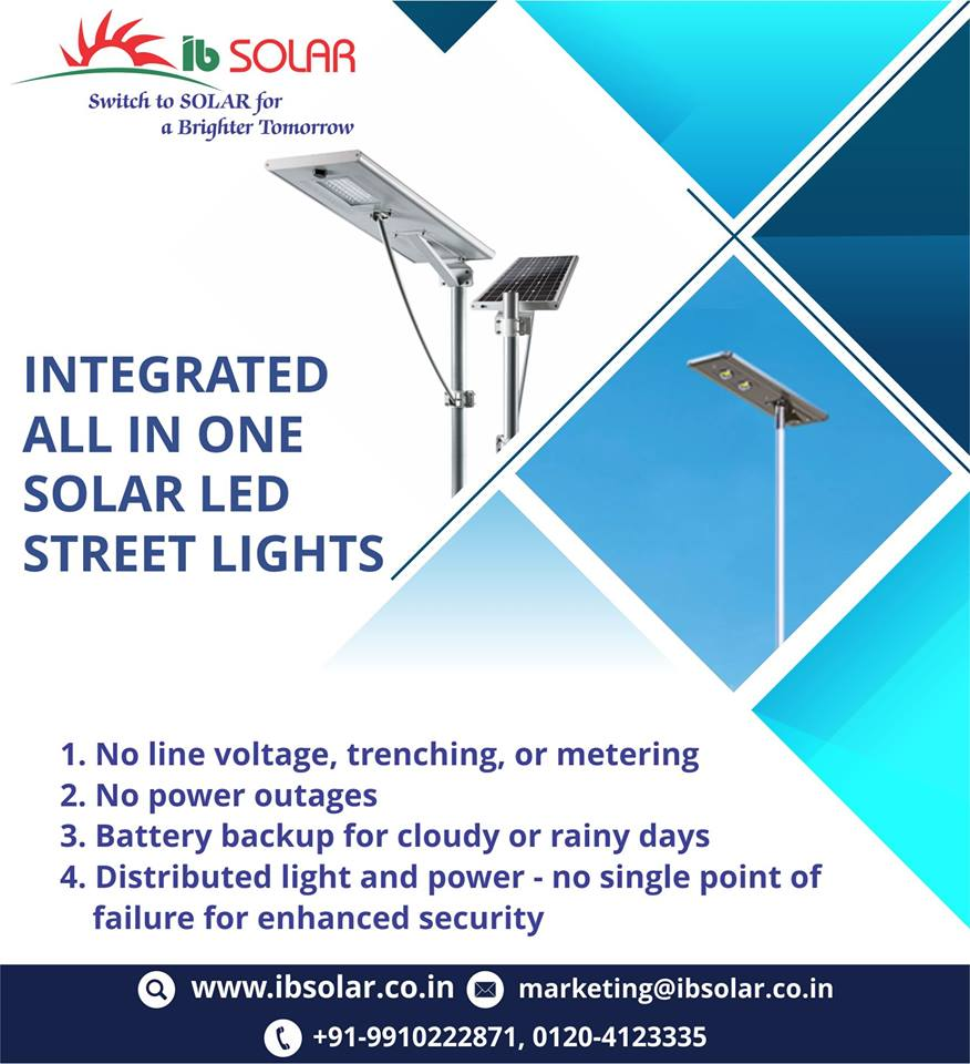 Integrated all in one solar LED street lights